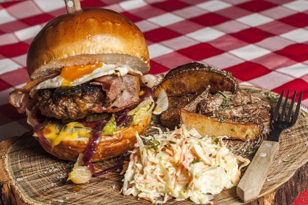 hamburger, fries, coleslaw